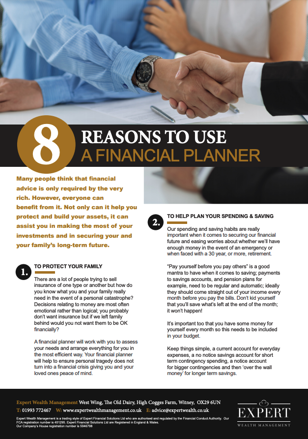 8 Reasons To Use A Financial Planner